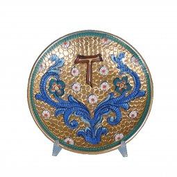 """Copertina di 'Patena in ceramica simbolo TAU """"Modello Bizantino"""" - 15 cm'"""