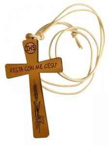 """Copertina di 'Croce in legno con laccio bianco """"Resta con me Gesù"""" - altezza 8 cm'"""