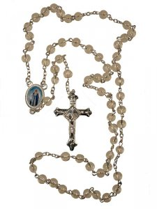 Copertina di 'Rosario in plastica trasparente + crocera Madonna'
