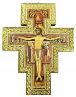 Crocifisso San Damiano da parete stampa su legno bordo oro - 19,5 x 15 cm