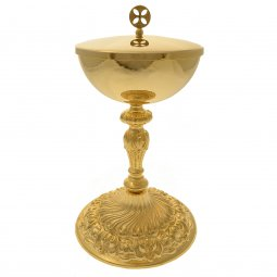 Copertina di 'Pisside dorata con base decorata stile rococò - altezza 23 cm'