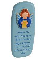 """Icona """"Angelo di Dio"""" per bambini azzurra - dimensioni 14x6 cm"""