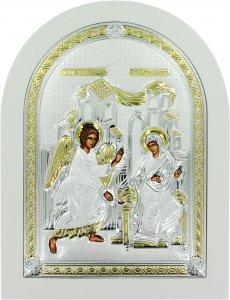 Copertina di 'Icona Annunciazione Greca a forma di arco con lastra in argento - 15 x 20 cm'