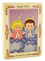 Quadretto Angelo di Dio con nuvole di  su LibreriadelSanto.it