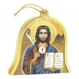 "Copertina di 'Icona in legno a campana ""Gesù eucaristia"" -  dimensioni 10x11 cm'"