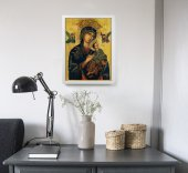 """Immagine di 'Quadro """"Madonna del Perpetuo Soccorso"""" con lamina oro e cornice minimal- dimensioni 44x34 cm'"""