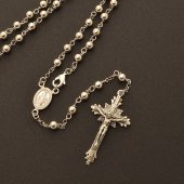 Immagine di 'Rosario collana in argento 925 con grani tondi (astuccio incluso)'