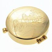 """Teca eucaristica porta ostie in ottone dorato """"Ultima Cena"""" - diametro 5,3 cm"""