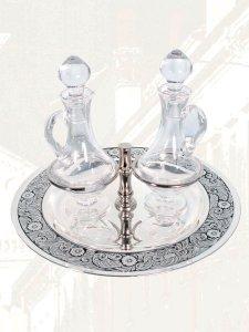 Copertina di 'Servizio ampolline in cristallo argentato 50 cc'