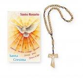 "Coroncina rosario Tau in legno e cartoncino pieghevole ""Santa Cresima"""