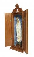 Immagine di 'Statua Madonna di Fatima dipinta a mano (49 cm) con custodia/vetrinetta espositiva in legno (70 cm)'