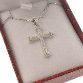 Crocetta classica con strass e catenina in argento 925