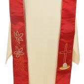 Immagine di 'Stola rossa in raso con simboli eucaristici'