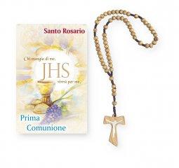 """Copertina di 'Coroncina rosario, Tau in legno e cartoncino pieghevole """"Prima Comunione""""'"""