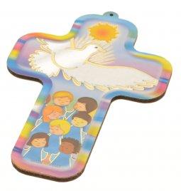 """Copertina di 'Croce """"Colomba bianca e bambini"""" - altezza 13 cm'"""