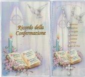 Bomboniera Cresima: Libretto ricordo della Confermazione con rosario, testi in italiano