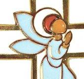 Immagine di 'Crocifisso da parete con angelo pregante per bomboniera battesimo - 13 cm'