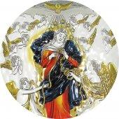 Immagine di 'Quadretto Bassorilievo di Maria che scioglie i nodi, argento 999 e dettagli colorati (19,5 x 26 cm)'