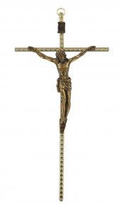 Copertina di 'Crocifisso da parete in metallo dorato con Cristo brunito - 25 cm'