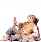 Fanciullo sdraiato H.K. - Demetz - Deur - Statua in legno dipinta a mano. Altezza pari a 11 cm.