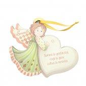 """Angelo da appendere in legno colorato con cuore """"Serenità"""" - dimensioni 14x17 cm"""