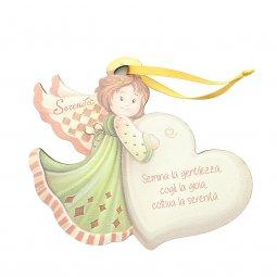 """Copertina di 'Angelo da appendere in legno colorato con cuore """"Serenità"""" - dimensioni 14x17 cm'"""
