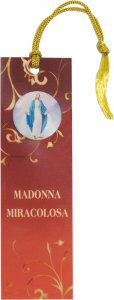 Copertina di 'STOCK: Segnalibro in pvc cm 3,8x12,7 con resina della Madonna Miracolosa e preghiera - italiano'