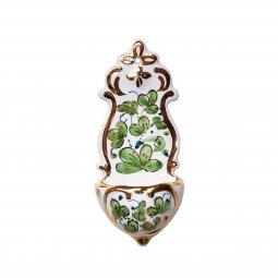 Copertina di 'Acquasantiera in ceramica  cm 13 - Modello Arabesco verde e oro'