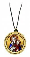 Ciondolo Maria con Gesù bambino in legno ulivo con immagine serigrafata - 3,5 cm