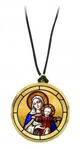 Copertina di 'Ciondolo Maria con Gesù bambino in legno ulivo con immagine serigrafata - 3,5 cm'