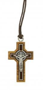 Copertina di 'Croce San Benedetto in legno d'ulivo e metallo con cordone - 4 cm'