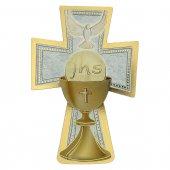 """Croce sagomata con lamina oro """"Comunione e Cresima"""" - dimensioni 9x14 cm"""
