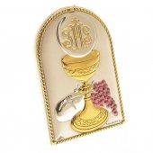 Quadretto comunione in bilaminato d'argento e dettagli pastello e oro