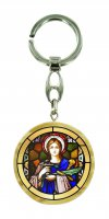 Portachiavi Santa Lucia in legno ulivo con immagine serigrafata - 4 cm