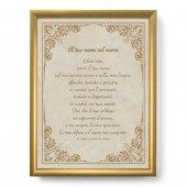 """Quadro con preghiera """"Il tuo nome nel cuore"""" su cornice dorata - dimensioni 44x34 cm - S. Alfonso Maria de Liguori"""
