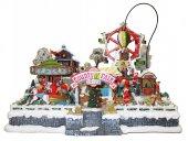Villaggio natalizio con luna park, movimento, luci, musica (43 x 34 x 39 cm)