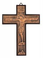 Crocifisso da parete in metallo bronzato su legno - 23 cm