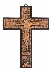 Copertina di 'Crocifisso da parete in metallo bronzato su legno - 23 cm'