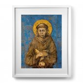 "Quadro ""San Francesco d'Assisi"" con passe-partout e cornice minimal - dimensioni 53x43 cm - Cimabue"