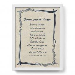"""Copertina di 'Quadro con preghiera """"Dammi, prendi, strappa"""" su cornice minimal - dimensioni 44x34 cm'"""