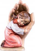 Mano protettrice da poggiare con bambina - Demetz - Deur - Statua in legno dipinta a mano. Altezza pari a 14 cm.