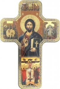 Copertina di 'Croce icona Cristo con Libro Chiuso stampa su legno - 18 x 12 cm'