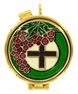 Copertina di 'Teca eucaristica ostie smalti Uva e Croce Ø 4 cm'