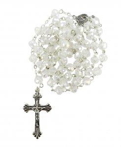 Copertina di 'Rosario cristallo sfaccettato con grani mm 6 colore bianco trasparante legatura in metallo'