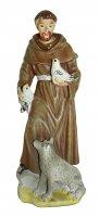 Statua di San Francesco da 12 cm in confezione regalo con segnalibro in IT/EN/ES/FR