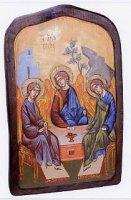"""Icona in legno dipinta a mano """"Trinità di Rublev"""" - dimensioni 43x27 cm"""