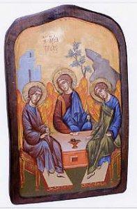 """Copertina di 'Icona in legno dipinta a mano """"Trinità di Rublev"""" - dimensioni 43x27 cm'"""