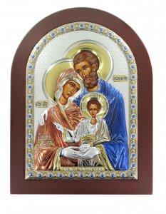 Copertina di 'Icona Sacra Famiglia greca a forma di arco con lastra in argento - 10 x 14 cm'