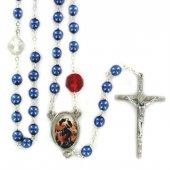 Rosario in simil perla blu Madonna che disfa i nodi