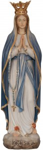 """Copertina di 'Statua in legno """"Madonna di Lourdes con corona e manto blu"""" - altezza 24 cm'"""